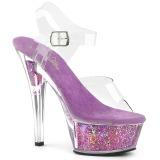 Lavendel 15 cm KISS-208GF glitter plateau sandalen met hak