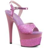 Lavendel 18 cm ADORE-709-2G glitter plateau sandalen met hak