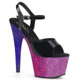 Lavendel 18 cm ADORE-709OMBRE glitter plateau sandalen met hak
