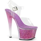 Lavendel 18 cm SKY-308G-T glitter plateau sandalen met hak