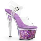Lavendel 18 cm SKY-308GF glitter plateau sandalen met hak