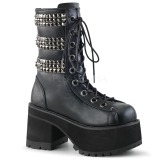 Leatherette 10 cm DEMONIA RANGER-305 goth ankle boots with rivets