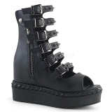 Leatherette 10 cm DEMONIA VENOM-110 goth ankle boots with buckles