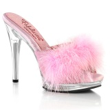 Leatherette 12,5 cm GLORY-501F-8 Roze mules high heels with marabou feathers