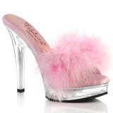 Leatherette 13,5 cm MAJESTY-501F-8 Roze mules high heels with marabou feathers