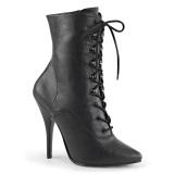 Leatherette 13 cm SEDUCE-1020 Black ankle boots high heels