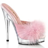Leatherette 15 cm SULTRY-601F Roze mules high heels with marabou feathers