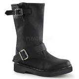 Leatherette 3,5 cm RIVAL-302 Black motorcycle boots with buckles