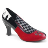 Leatherette 7,5 cm HARLEY-42 Pinup Pumps Shoes with Low Heels