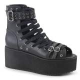 Leatherette 7 cm DEMONIA GRIP-105 goth ankle boots with buckles