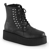 Leatherette Black CREEPER-573 Platform Mens Creepers Ankle Boots