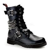 Leatherette Black DEFIANT-204 Mens Buckle Boots