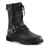 Leatherette Black DEFIANT-206 Mens Buckle Boots