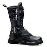 Leatherette Black DEFIANT-302 Mens Buckle Boots