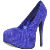 Light Blue Rhinestone 14,5 cm TEEZE-06R Platform Pumps Women Shoes