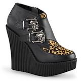 Luipaard Kunstleer CREEPER-306 wedge creepers schoenen sleehakken