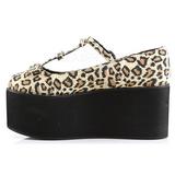 Luipaard zeildoek 8 cm CLICK-08 lolita gothic schoenen dikke zolen