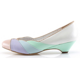 Multicolored 4 cm retro vintage LULU-05 Pinup Pumps Shoes with Low Heels
