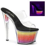 Neon 18 cm SKY-302SRS Strass steentjes plateau slippers dames