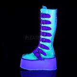 Neon 9 cm DAMNED-318 plateau laarzen dames met gespen