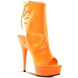 Neon Oranje 16 cm Pleaser DELIGHT-1018UV Plateau Enkellaarzen