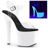 Neon White 18 cm Pleaser RADIANT-708UV High Heel Platform
