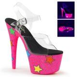 Neon glitter 18 cm Pleaser ADORE-708STR paaldans schoenen met hoge hakken