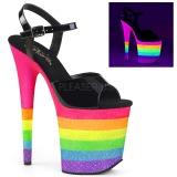 Neon regenboog 20 cm FLAMINGO-809UVRB paaldans schoenen met hoge hakken