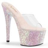 Opaal 18 cm ADORE-701LG glitter plateau slippers dames met hak