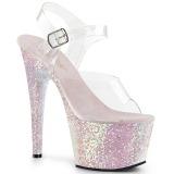Opaal glitter 18 cm Pleaser ADORE-708LG paaldans schoenen met hoge hakken