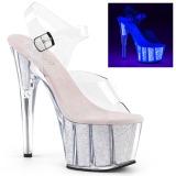 Opaal glitter 18 cm Pleaser ADORE-708UVG paaldans schoenen met hoge hakken