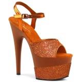 Oranje 18 cm ADORE-709-2G glitter plateau sandalen met hak