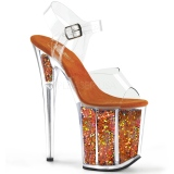 Oranje 20 cm FLAMINGO-808GF glitter plateau schoenen dames met hak