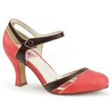 Oranje 7,5 cm FLAPPER-27 Pinup pumps schoenen met lage hakken