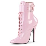 Patent 15 cm DOMINA-1023 Roze ankle boots high heels