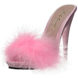 Pink 13 cm POISE-501F maraboe veren Mules Schoenen