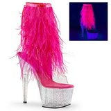 Pink 18 cm ADORE-1017MFF platform ankle boots marabou feathers