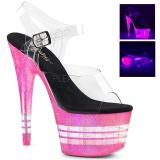 Pink 18 cm ADORE-708UVLN Sandalen met Neon Plateau