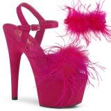 Pink 18 cm ADORE-709F pole dance hakken met veren