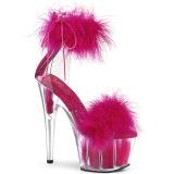 Pink 18 cm ADORE-724F pole dance hakken met veren