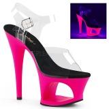 Pink 18 cm MOON-708UV Sandalen met Neon Plateau