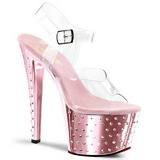 Pink 18 cm Pleaser STARDUST-708 High Heels Chrome Platform