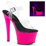 Pink 18 cm SKY-308UV Neon plateau schoenen dames met hak