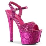 Pink 18 cm SKY-310LG glitter platform high heels shoes