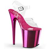 Pink 20 cm FLAMINGO-808 Chrome Platform High Heels