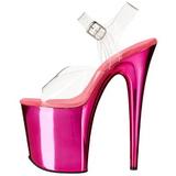 Pink 20 cm FLAMINGO-808 Chroom Plateau Hoge Hakken