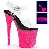 Pink 20 cm FLAMINGO-808UVG Neon Acrylic Platform High Heeled Sandal