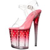 Pink 20 cm STARDUST-808T Acrylic Platform High Heeled Sandal