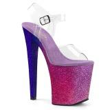 Pink 20 cm XTREME-808OMBRE glitter platform high heels shoes
