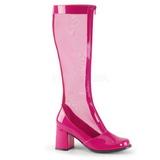 Pink 8,5 cm GOGO-307 net laars dames met hoge hakken
